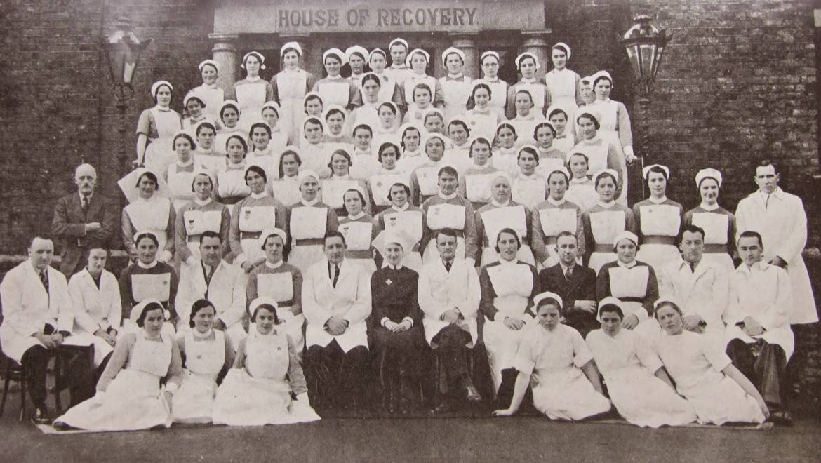 14 - 1938 Cork Street Fever Hospital staff photo with Dr McSweeney sixth from the right in the second row